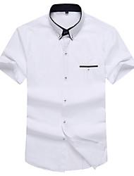 Men's Short Sleeve Shirt,Cotton Casual / Work / Formal / Sport Pure