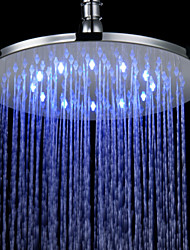10 Inch Contemporary Durable Chromed Brass Round LED RGB Rain Shower Head - Silver