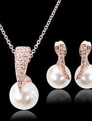 Lucky Doll Women's Vintage Rose Gold Plated mitation Pearl Zirconia Geometric Necklace & Earrings Jewelry Sets