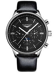 Guanqin Men Quartz Watch Multifunction Big Dial Stainless Steel Case and Leather Strap 40.5 mm Wrist Watch for Men