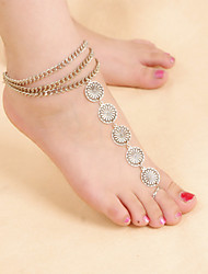 Retro Women National Wind Multilayer Metallic Flower Chain Anklets