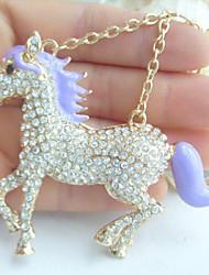 Unique Purple Enamel Clear Rhinestone Crystal Horse KeyChain Pendant