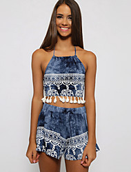 Women's Print Blue Set , Halter Sleeveless Tassel/Backless