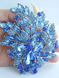 Wedding 4.33 Inch Silver-tone Blue Rhinestone Crystal Flower Brooch Art Deco Brooch Bouquet