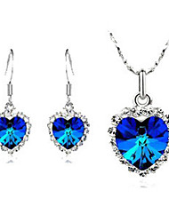 Haofeng Women's Korean-style High Quality Simple Cute Mosaic Zircon Silver-plated Set