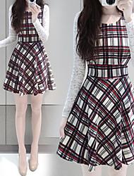 Women's Dresses , Cotton Blend/Lace Sexy/Casual/Lace Long Sleeve K.M.S