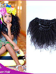 6A Afro Kinky Curly Clip In Human Hair Extensions Malaysian Hair Clip In Extension Human Hair Extensions