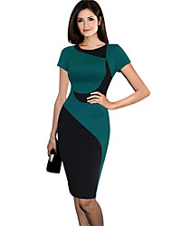 Women's Work Bodycon Dress,Patchwork Round Neck Above Knee Short Sleeve Black / Green Summer
