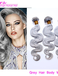 """3pcs / lot brasilianische reine Menschenhaarkörperwelle Haareinschlag grauen Haar spinnt 14 """"-20"""" grauen Haarverlängerungen"""
