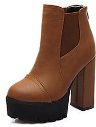 Zapatos de mujer Semicuero Tacón Robusto Punta Redonda Botas Casual Negro/Marrón