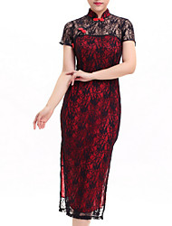 Clubwear Dresses Women's Performance Polyester/Lace Lace 1 Piece Black