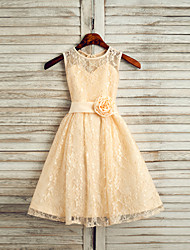 A-line Ankle-length Flower Girl Dress - Lace Jewel with Flower(s) Sash / Ribbon Pleats
