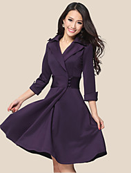 Women's Tailored Collar Dresses , Polyester Casual/Work ¾ Sleeve Luoluo