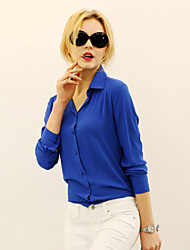 Women's Solid Blue/Red/White/Black/Yellow Shirt , Shirt Collar Long Sleeve