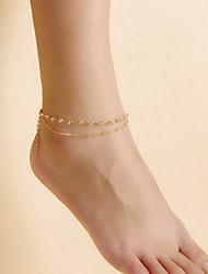 moda feminina yoga dança grânulos de cristal simples tornozeleiras de dupla camada