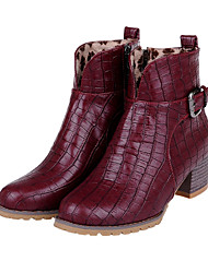 Women's Shoes Chunky Heel Fashion Boots/Round Toe Dress/Casual Black/Silver/Gold/Burgundy