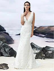 Lanting Bride Trumpet/Mermaid Wedding Dress-Sweep/Brush Train V-neck Lace