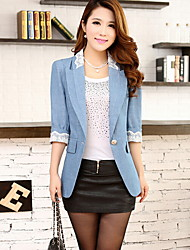 Women's Solid/Lace Blue Blazer , Casual ¾ Sleeve Lace Jacket