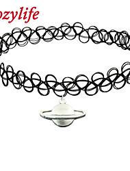 Cozylife Girls Black Stretch Gothic Tattoo Henna Collar Choker Necklace Elastic with Solar System  Pendant