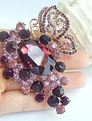 2.95 Inch Gold-tone Purple Rhinestone Crystal Butterfly Flower Brooch Pendant Art Decorations