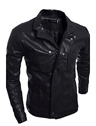 Men's Casual Long Sleeve Leather Coat