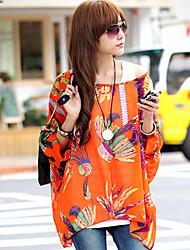 Women's Round Tops & Blouses , Chiffon Print ½ Length Sleeve qingshadieying