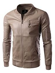 Men's Slim Stand Collar Double Zippers Jacket