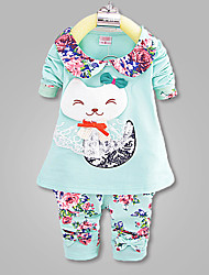 Girl's Cotton Blend Clothing Set , Spring/Fall Long Sleeve,New Children's Clothes,For 0-4 Years Old Baby,Soft