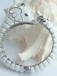 Pretty Elephant Bracelet Bangle Cuff With Clear Rhinestone Crystals