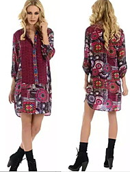 Women's Shirt Collar Dresses Casual/Print/Work Long Sleeve summer