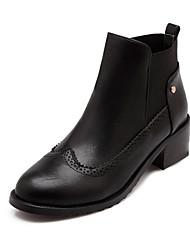 Zapatos de mujer Semicuero Tacón Robusto Punta Redonda Botas Casual Negro/Amarillo/Beige