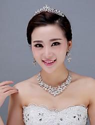 Women's Rhinestone Headpiece - Wedding/Special Occasion Tiaras 3 Pieces Including Tiara Earrings Necklace