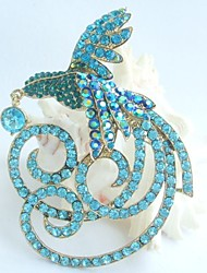 Gorgeous 3.94 Inch Gold-tone Turquoise Green Rhinestone Crystal Phoenix Brooch Pendant Art Deco