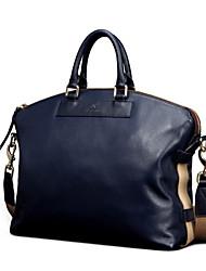 tela oxford de cuero genuino azul diseño único maletines mensajero del bolso de negocio original bolsas solo hombro