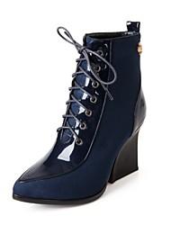 Calçados Femininos Couro Envernizado Anabela Anabela/Bico Fino/Bico Fechado Botas Escritório & Trabalho/Social Preto/Azul