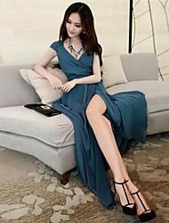 Women's Beach Bodycon Dress,Solid V Neck Maxi Sleeveless Blue / Beige Summer