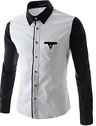 Men's Stylish  Black White  Long Sleeve Dress Shirt