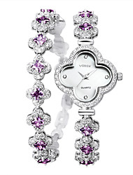 Vodoy®Lady's Watch Clover Rhinestone-encrusted Bracelet FemaleTable Two Laps  Bracelet Table  Adjustable Length