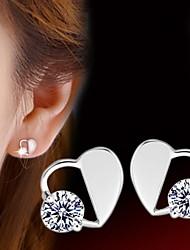 Prevent Allergy Heart-shaped  Sterling Silver Diamond Stud Earrings