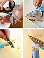 3 в 1 ножницы рыбы масштабирования Щелкунчик бутылок кухня помощь (случайный цвет)