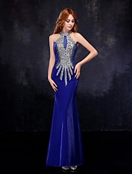 Mermaid / Trumpet High Neck Floor Length Tulle Formal Evening Dress with Crystal Detailing by JUEXIU Bridal