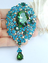 3.94 Inch Gold-tone Turquoise Green Rhinestone Crystal Drop Flower Brooch Pendant Art Decorations