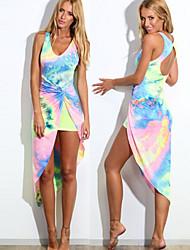 G&Z Women's Sexy/Beach/Print Round Sleeveless Dresses (Cotton Blend)