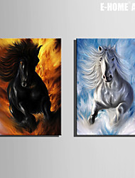E-HOME® Stretched Canvas Art The Galloping Horse Decorative Painting Set of 2