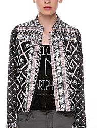 CEN     Women's Print Multi-color Coats & Jackets , Casual / Work Asymmetrical Long Sleeve
