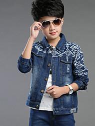 Boy's Personalized Cube Printing Denim Jacket, Winter/Fall