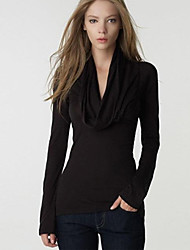Enaco Women's Solid Color Black / Gray Tops & Blouses , Sexy / Casual / Work V-Neck Long Sleeve