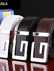 Men Calfskin Waist Belt , Vintage/Party/Work/Casual business casual Trend fashion plate buckle