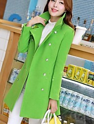 Women's Long Sleeve Wool Blends Coat , Casual