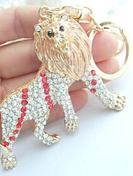 Purse Charming Unique Lion Key Chain With Red&Clear Rhinestone crystals